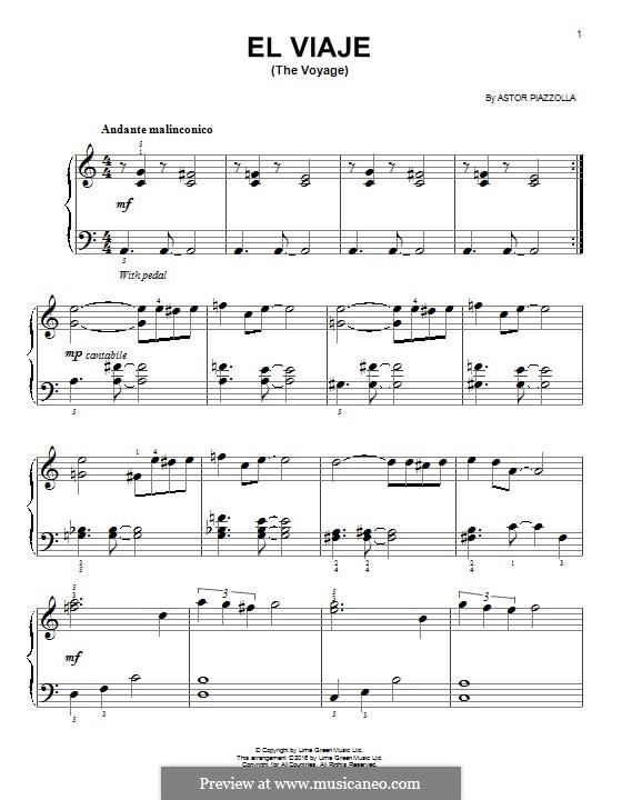 El Viaje: Für Klavier by Astor Piazzolla
