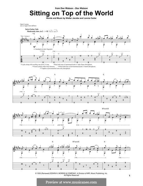 Sittin' on Top of the World (Mississippi Sheiks): Für Gitarre mit Tabulatur by Walter Jacobs, Bo Carter