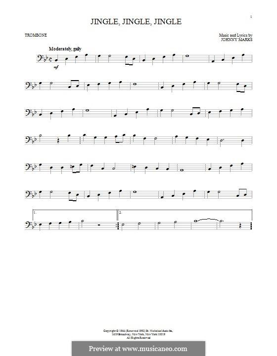 Jingle, Jingle, Jingle: For trombone by Johnny Marks
