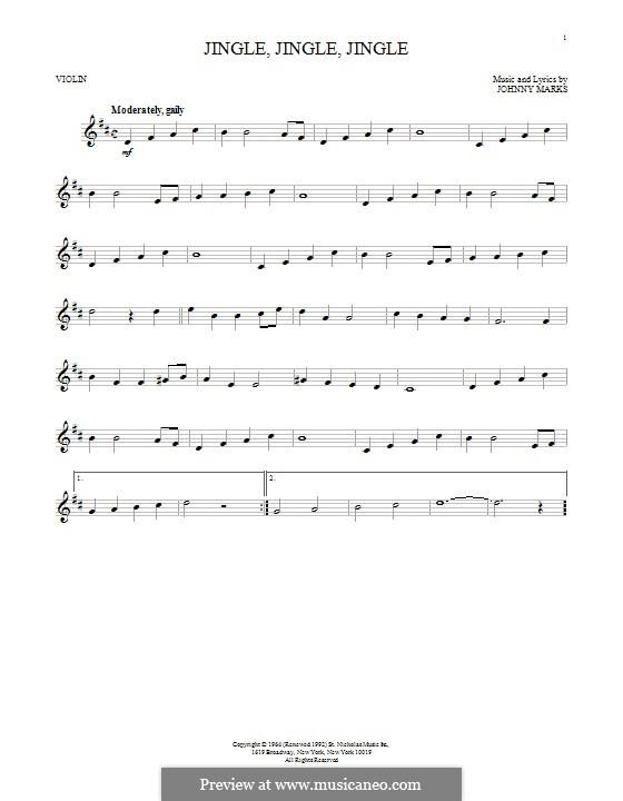 Jingle, Jingle, Jingle: Für Violine by Johnny Marks