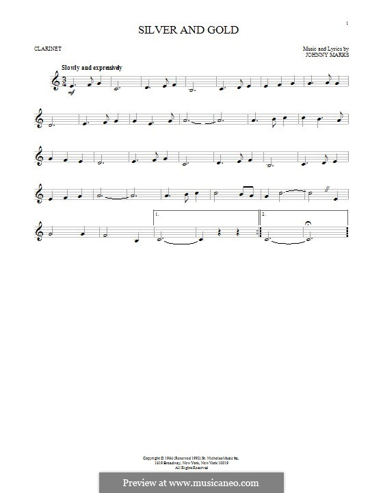 Silver and Gold: Für Klarinette by Johnny Marks