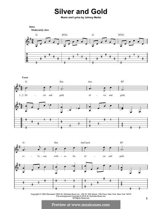 Silver and Gold: Für Gitarre mit Tabulatur by Johnny Marks