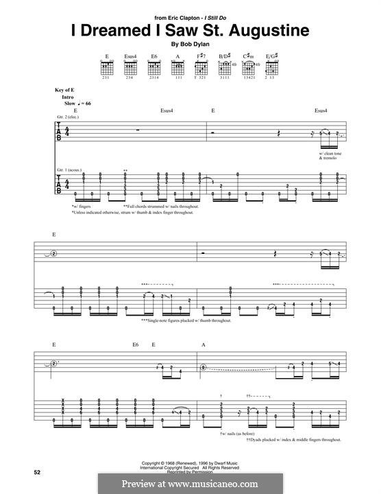 I Dreamed I Saw St. Augustine: Für Gitarre mit Tabulatur by Bob Dylan