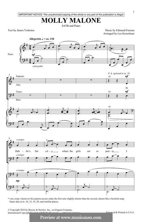 Molly Malone: Für gemischten Chor by Edmund Forman