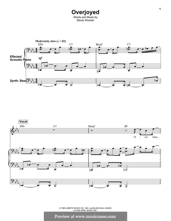 Overjoyed: For piano and synthesizer by Stevie Wonder