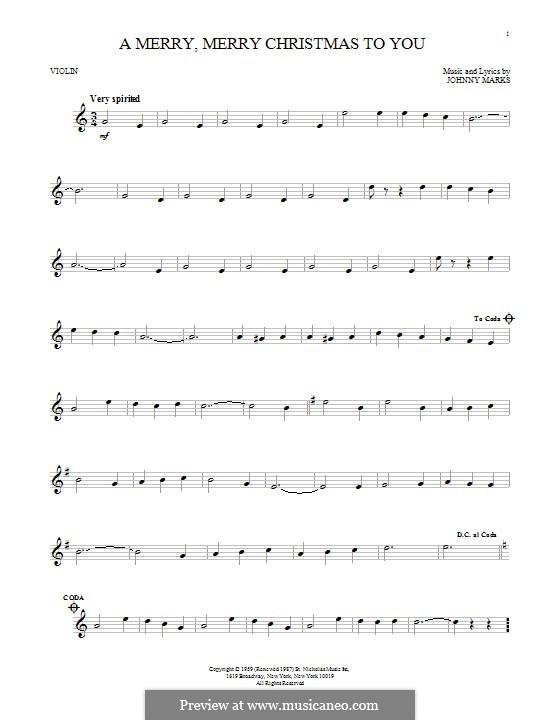 A Merry, Merry Christmas to You: Für Violine by Johnny Marks