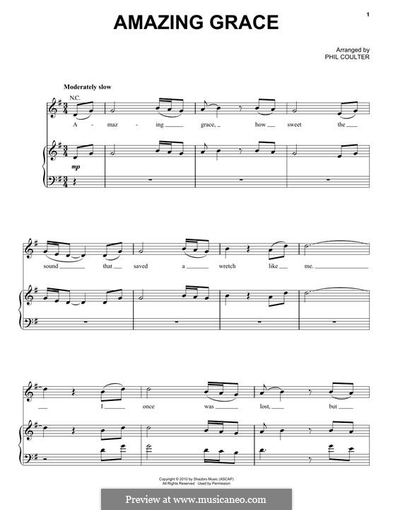 Amazing Grace (Printable Scores): Für Stimme und Klavier (oder Gitarre) by folklore