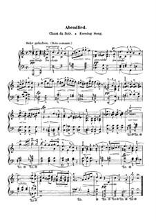 Zwölf Stücke für Klavier, vierhändig, Op.85: Nr.12 Abendlied, für Klavier by Robert Schumann