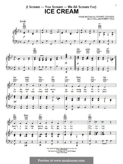 (I Scream-You Scream-We All Scream For) Ice Cream: Für Stimme und Klavier (oder Gitarre) by Robert King, Howard E. Johnson, Billy Moll