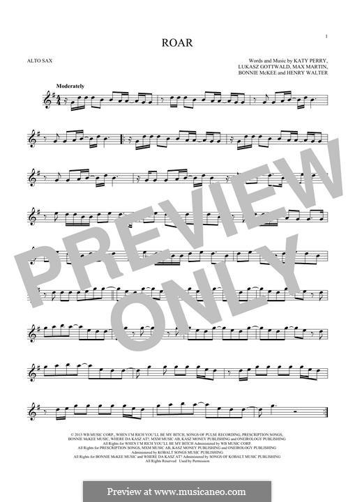 Roar: Für Altsaxophon by Bonnie McKee, Katy Perry, Lukas Gottwald, Max Martin, Henry Russell Walter