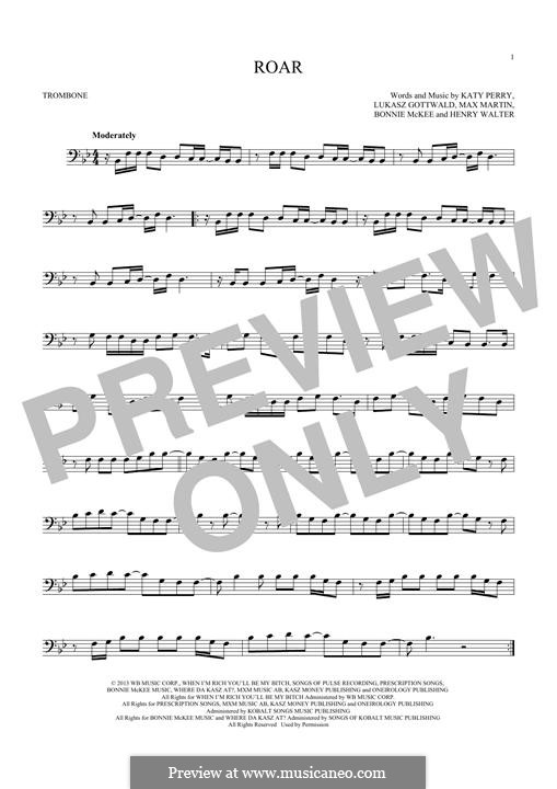 Roar: For trombone by Bonnie McKee, Katy Perry, Lukas Gottwald, Max Martin, Henry Russell Walter