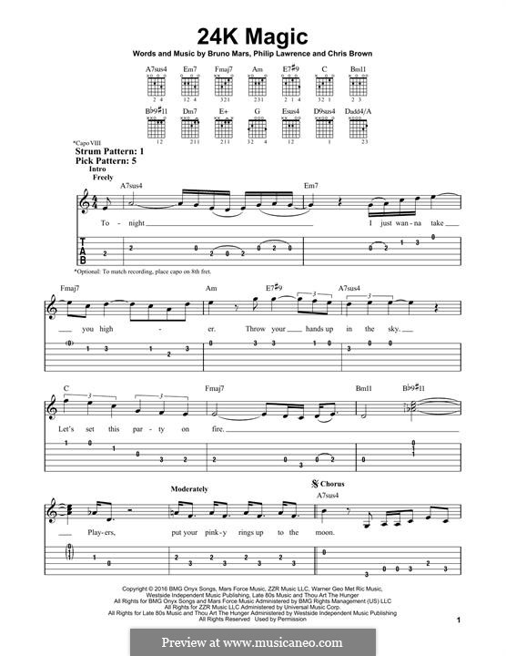 24K Magic: Für Gitarre mit Tabulatur by Christopher Brown, Bruno Mars, Philip Lawrence