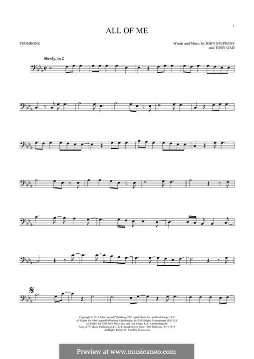 All of Me: For trombone by John Stephens, Tobias Gad