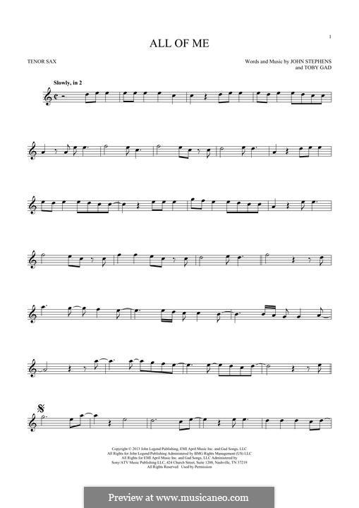 All of Me: Für Tenorsaxophon by John Stephens, Tobias Gad
