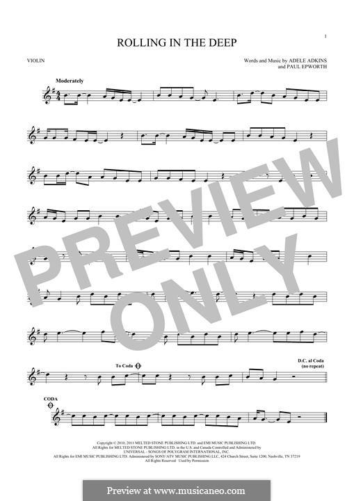Rolling in the Deep: Für Violine by Adele, Paul Epworth
