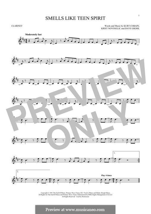 Smells Like Teen Spirit (Nirvana): Für Klarinette by David Grohl, Krist Novoselic, Kurt Cobain