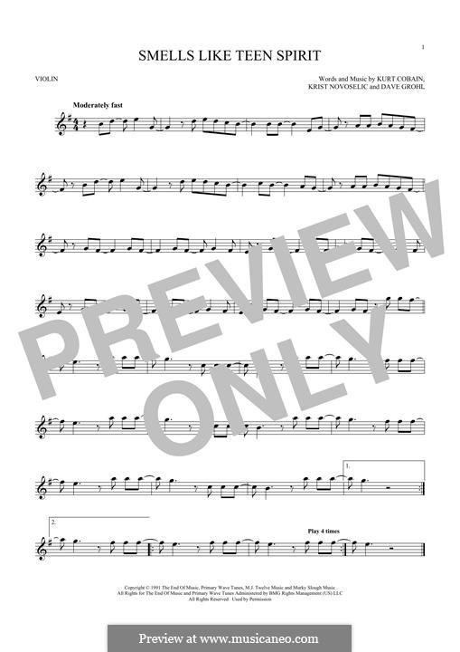 Smells Like Teen Spirit (Nirvana): Für Violine by David Grohl, Krist Novoselic, Kurt Cobain