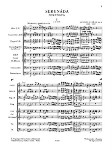 Serenade in d-Moll, B.77 Op.44: Vollpartitur by Antonín Dvořák