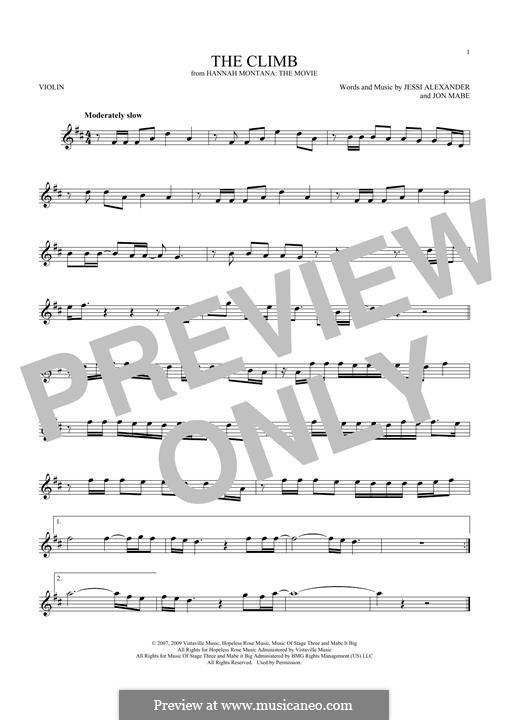 The Climb: Für Violine by Jessi Alexander, Jon Mabe