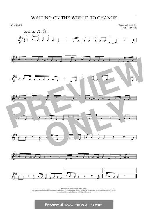 Waiting on the World to Change: Für Klarinette by John Mayer