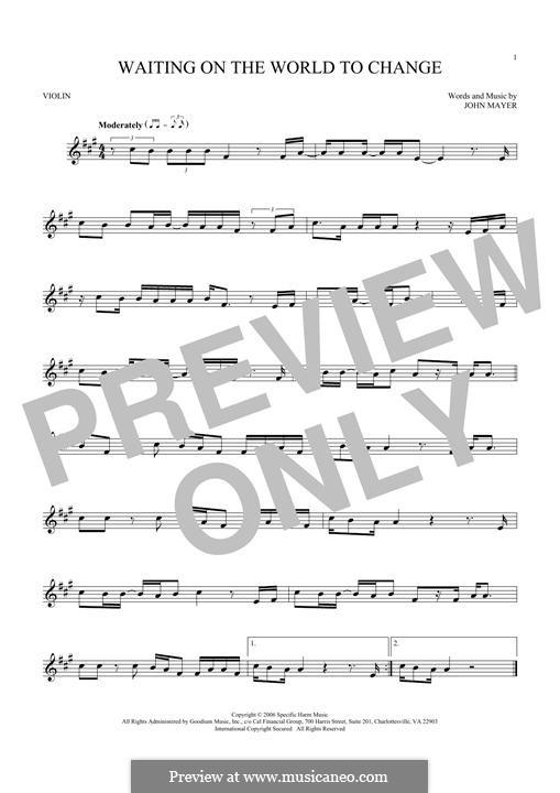 Waiting on the World to Change: Für Violine by John Mayer
