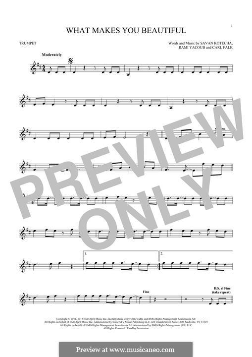 What Makes You Beautiful (One Direction): Für Trompete by Carl Falk, Savan Kotecha