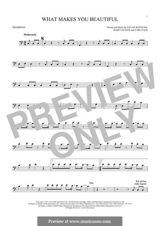 What Makes You Beautiful (One Direction): For trombone by Carl Falk, Savan Kotecha