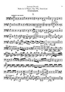 Amerikanische Suite für Orchester, B.190 Op.98b: Kontrabassstimmen by Antonín Dvořák