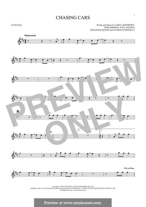 Chasing Cars (Snow Patrol): Für Altsaxophon by Gary Lightbody, Jonathan Quinn, Nathan Connolly, Paul Wilson, Tom Simpson