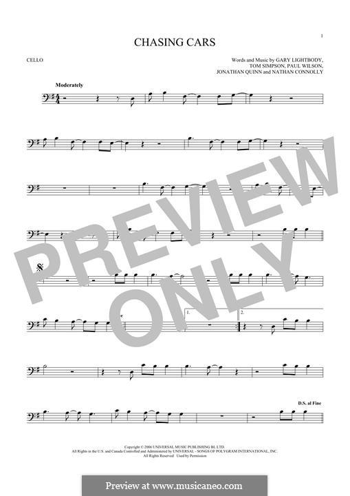 Chasing Cars (Snow Patrol): Für Cello by Gary Lightbody, Jonathan Quinn, Nathan Connolly, Paul Wilson, Tom Simpson
