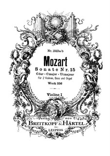 Kirchensonate für zwei Violinen, Orgel und Basso Continuo Nr.17 in C-Dur, K.336 (336d): Violinstimme I by Wolfgang Amadeus Mozart