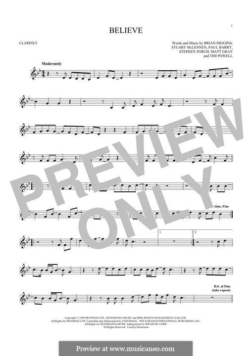Believe (Cher): Für Klarinette by Brian Higgins, Paul Barry, Stephen Torch