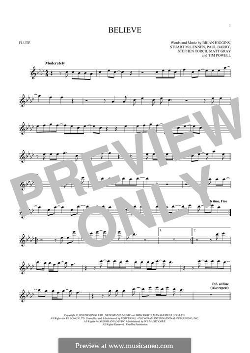 Believe (Cher): Für Flöte by Brian Higgins, Paul Barry, Stephen Torch