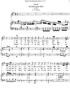 Die betrogene Welt, K.474: Klavierauszug mit Singstimmen by Wolfgang Amadeus Mozart