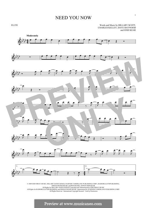 Need You Now: Für Flöte by Charles Kelley, David Haywood, Hillary Dawn Scott, Josh Kear