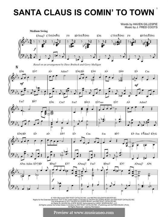 Santa Claus is Comin' to Town, for Piano: For a single performer (E Flat Major) by J. Fred Coots