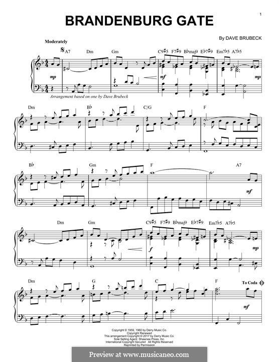 Brandenburg Gate: Für Klavier by Dave Brubeck