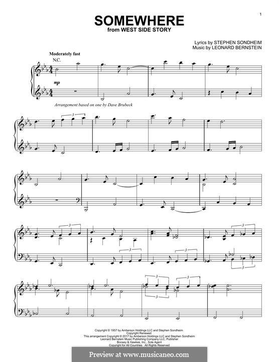 Somewhere (from West Side Story): Für Klavier by Leonard Bernstein