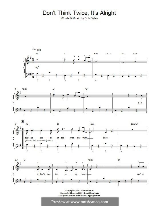 Don't Think Twice, It's Alright: Für Klavier by Bob Dylan