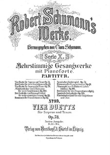 Vier Duos für Stimmen und Klavier, Op.78: Vollsammlung by Robert Schumann