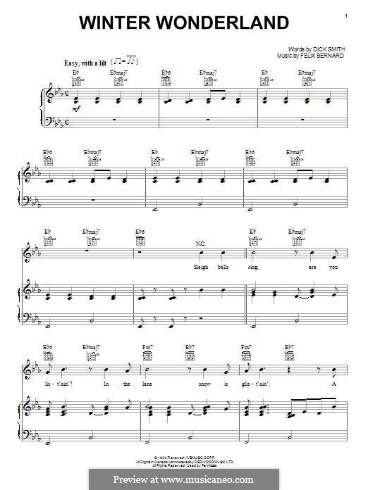 Winter Wonderland: Für Stimme und Klavier (oder Gitarre) by Felix Bernard