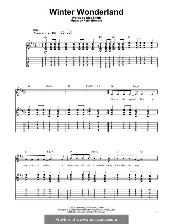 Winter Wonderland: Für Gitarre mit Tabulatur by Felix Bernard