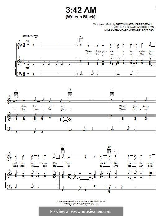 42 AM (Writer's Block): Für Stimme und Klavier (oder Gitarre) by Barry Graul, Bart Millard, James Bryson, Michael Scheuchzer, Nathan Cochran, Robin Shaffer