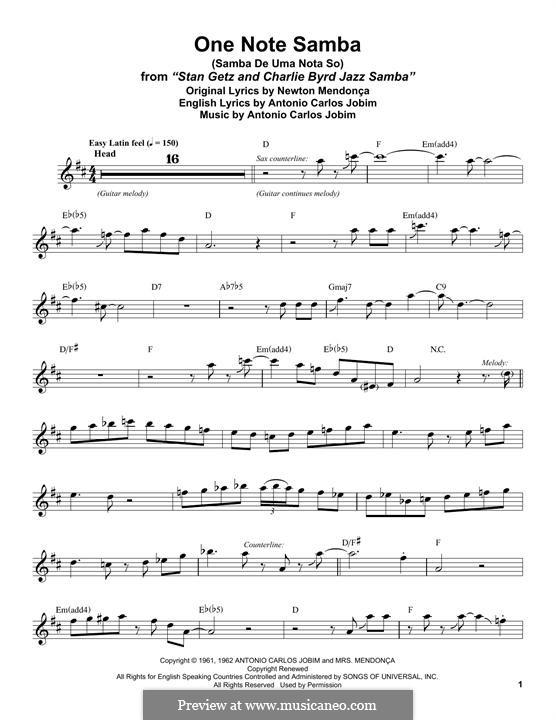 One Note Samba (Samba De Uma Nota): Für Tenorsaxophon by Antonio Carlos Jobim