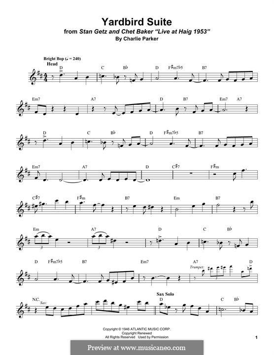 Yardbird Suite: Für Tenorsaxophon by Charlie Parker