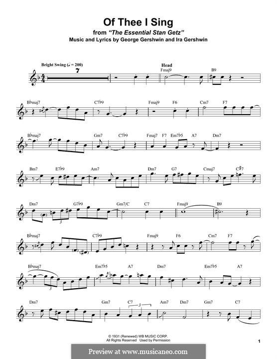Of Thee I Sing: Für Tenorsaxophon by George Gershwin