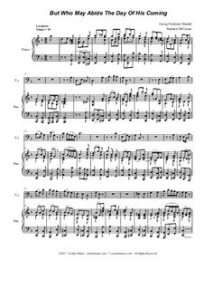 Nr.6 Doch wer mag ertragen den Tag seiner Ankunft: For cello solo and piano by Georg Friedrich Händel