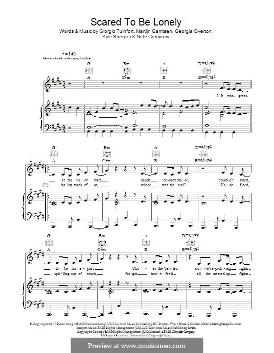 Scared To Be Lonely (Martin Garrix & Dua Lipa): Für Stimme und Klavier (oder Gitarre) by Giorgio Tuinfort, Martijn Garritsen, Georgia Overton, Kyle Shearer