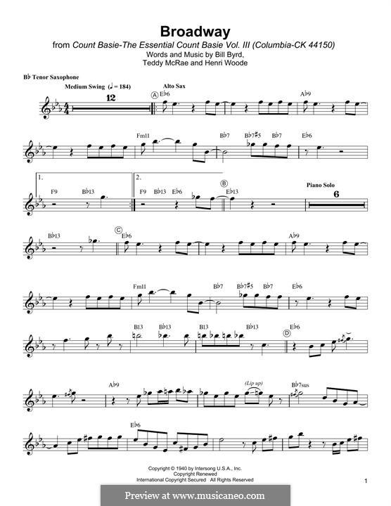 Broadway: Für Tenorsaxophon by Bill Byrd, Henri Woode, Teddy McRae