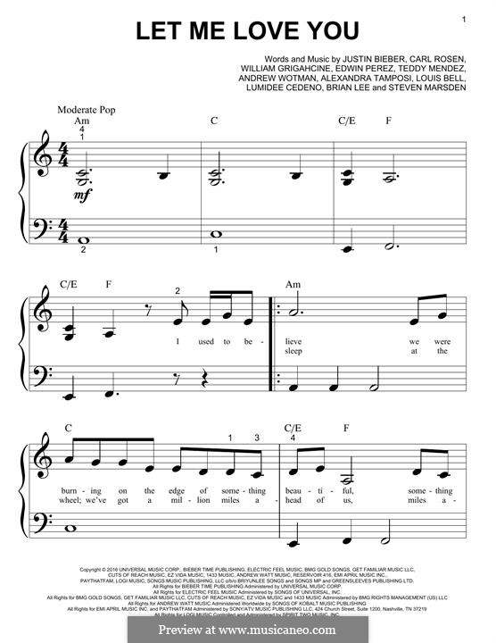 Let Me Love You (feat. Justin Bieber): Für Klavier by Brian Lee, Justin Bieber, William Grigahcine, Alexandra Tamposi, Andrew Wotman, Carl Rosen, Louis Bell